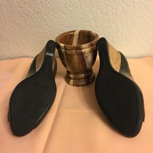 Prada Shoes - PRADA BLACK PATENT LEATHER CORK WEDGE HEEL.